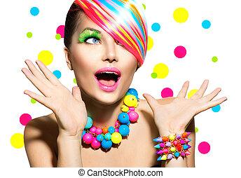 smink, manikyr, stående, färgrik, frisyr, skönhet