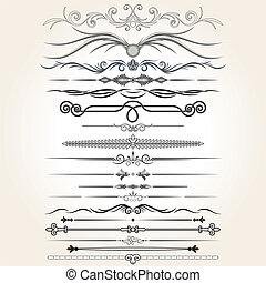 smyckad grundämnen, vektor, härska, lines., design