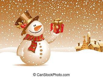 snögubbe, gåva, -, illustration, vektor, le, jul, landskap