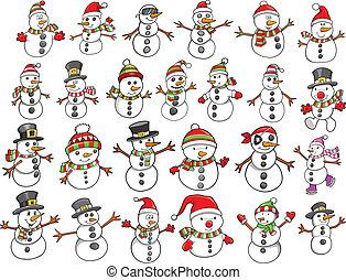 snögubbe, helgdag, sätta, jul
