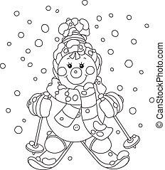 snögubbe, jul, skidåkare