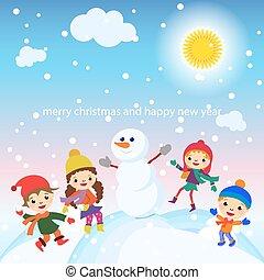 snögubbe, snö, hälsning, vektor, lurar, julkort