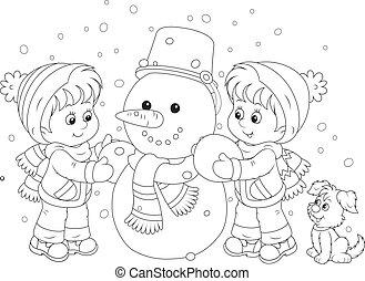 snögubbe, tillverkning, barn