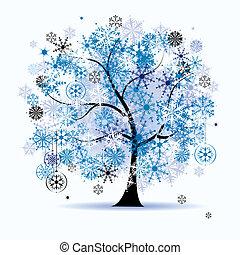 snowflakes., träd, holiday., vinter, jul