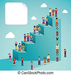 social, global, tillväxt, nätverk, folk