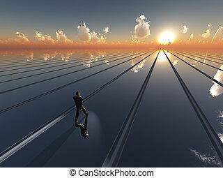 sol, framtid, horisont