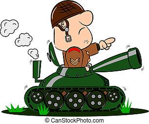 soldat, cistern, tecknad film, här
