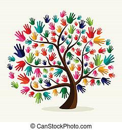 solidaritet, hand, färgrik, träd