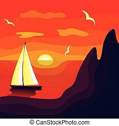 solnedgång, hav