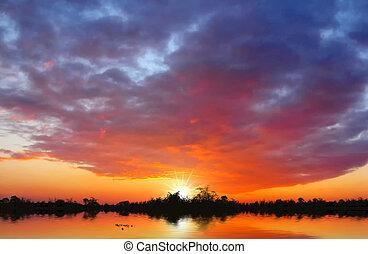 solnedgång, insjö