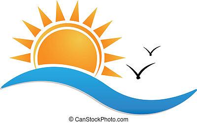 solnedgång strand, logo