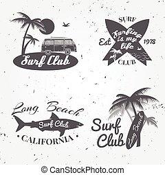 sommar, begrepp, sätta, bil, design., rv, baner, årgång, bakgrund., retro, bränningen stiger ombord, badge., emblem, handflator, klubba, surfare, ikon, surfa, vektor, utomhus, shark.