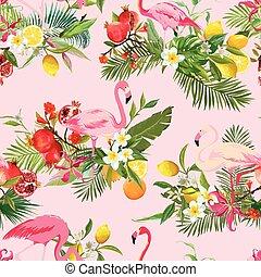 sommar, flamingo, mönster, seamless, tropisk, bakgrund., vektor, retro, frukter, blomningen, fåglar