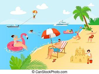 sommar, hav, resa, folk, aktivitet, design., strand, lägenhet, helgdag, illustration., man, sand, vektor, kvinna, fritid, ocean, tecknad film, semester
