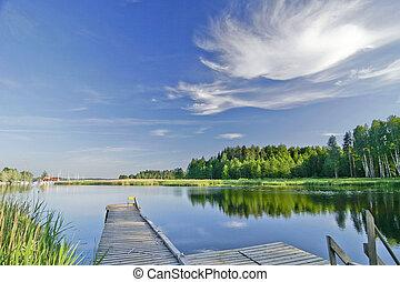 sommar, levande, sky, insjö, stillhet, under
