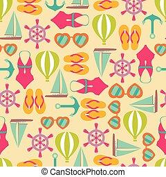 sommar, mönster, seamless, illustration, symboler, vektor