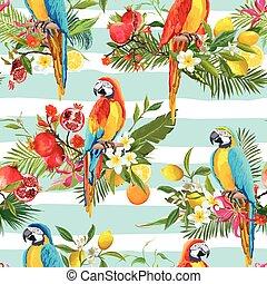 sommar, papegoja, mönster, seamless, tropisk, bakgrund., vektor, retro, frukter, blomningen, fåglar
