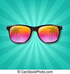 sommar, solglasögon, bakgrund, sunburst