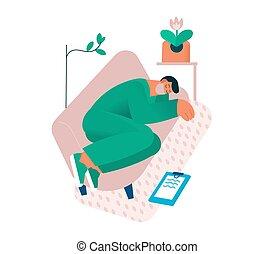 sova, läkare, eller, trött, worker., förbrukad, sköta, couch., tröttkörd, sjukvård