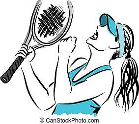 spelare, 3, tennis, illustration