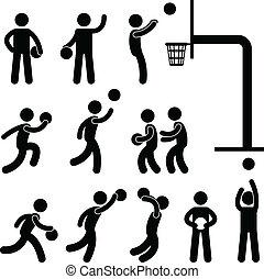 spelare, basketboll, folk, ikon, underteckna