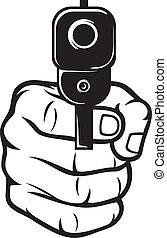 spetsig, hand gevär, (pistol)