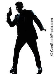spion, silhuett, gevär, holdingen, man