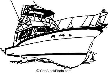 sport fiska, båt