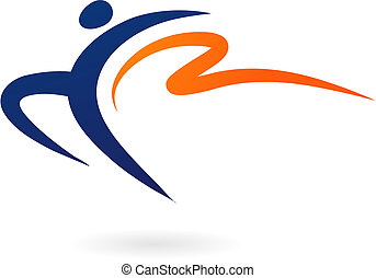 sport, -, vektor, gymnastik, figur