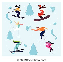 sport, vinter, öva, folk, ytterlighet, sätta