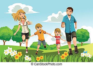 spring, parkera, familj