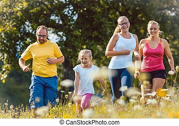 spring, sport, äng, familj