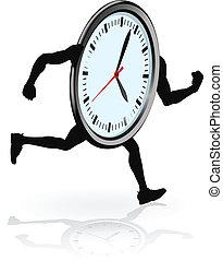 spring, tecken, klocka