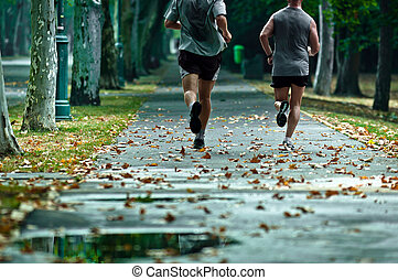 springa, hälsosam, dag, levande, varje, liv, vänner, din