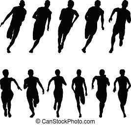 sprinter, sätta, gångmatta