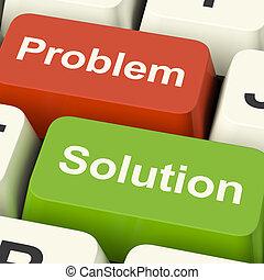 stämm, hjälp, lösning, lösning, dator, direkt, problem, visar