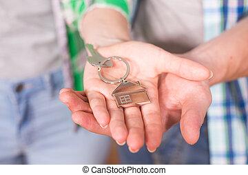 stämm, hus, keychain, holdingen, format