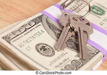 stämm, pengar, stack, hus