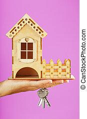 stämm, trähus, bakgrund., liten, hand, rosa