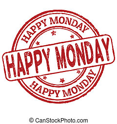 stämpel, måndag, lycklig