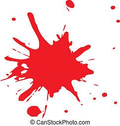 stänka ner, eller, blod, röd, bläck