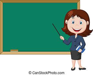 stå kvinnlig, tecknad film, nex, lärare