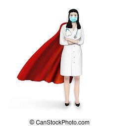 stå, tröttsam, medicinsk, tillitsfull, kvinna, maskera, läkare