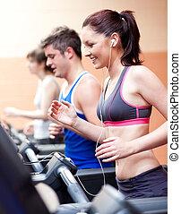 stående, centrera, vacker, musik, kvinnlig, maskin, atlet, lyssnande, spring, fitness
