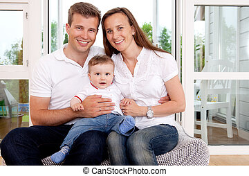 stående, familj, lycklig