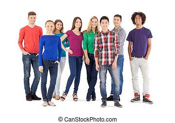stående, fyllda, folk, folk., isolerat, ung, glad, medan, kamera, tillfällig, längd, vit, le