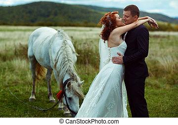 stående, häst, fält, brudgum, det lutar, brud, bak, vit