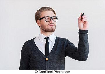 stående, hålla, stilig, grå, mot, ung, medan, korsat beväpnar, bakgrund, board., skrift, man, torka, transparent, glasögon