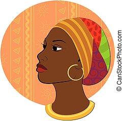 stående, huvud, kvinna, afrikansk