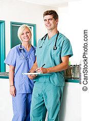 stående, klinik, veterinär